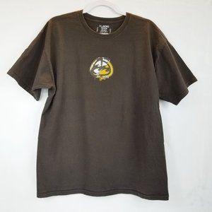 BILLABONG Mens Spellout Logo Brown Tee Shirt Sz L